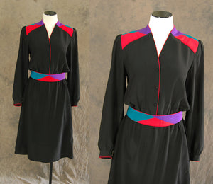 vintage 80s Silk Dress - Black Avant Garde Dress 1980s Quilted Colorblock Silk Dress Sz M