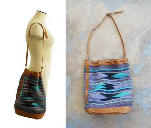 vintage 80s Kilim Purse - 1980s Large Blue Kilim and Leather Shoulder Bag BohoTapestry Bag Bucket Bag