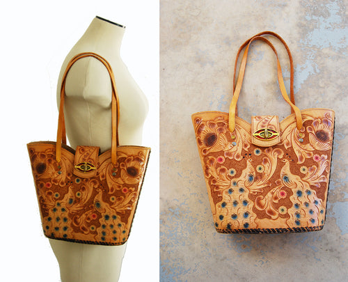 vintage 70s Tooled Leather Purse - 1970s Boho Peacock Birds Floral Hippie Tote Bag Handbag