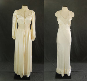 vintage 30 40s Silk Robe and Night Gown - 1930s 1940s White Satin Bias Cut Peignoir Dressing Gown Nightgown Sz S