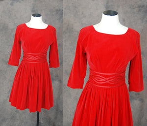 vintage 50s Dress - 1950s Red Velvet Party Dress Sz XS