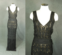 vintage 30s Ribbon Dress - 1930s Black Crochet Ribbon Dress Woven Silk Ribbon Maxi Dress Evening Gown Sz S M