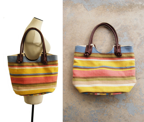 vintage 80s Tapestry Purse - 1980s Large Striped Tapestry and Leather Shoulder Bag Boho Tote Bag
