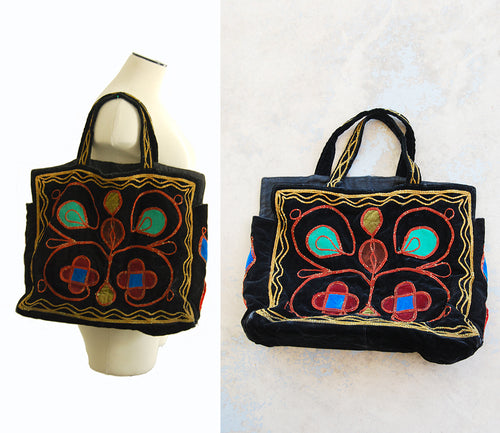 vintage 70s Embroidered Purse - 1970s Large Afghan Embroidered Velvet Tote Bag Boho Hippie Ethnic Shoulder Bag