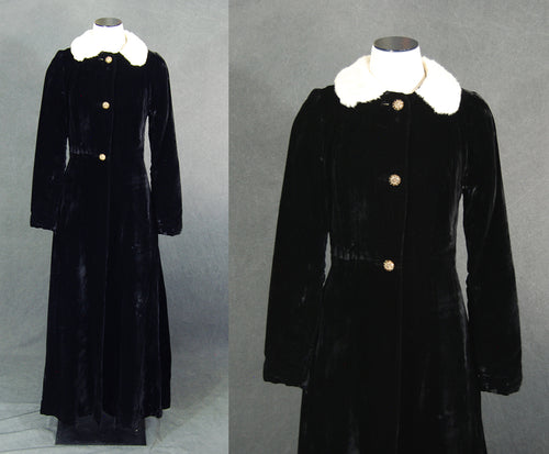 vintage 30s Velvet Princess Coat - White Fur Black Velvet Opera Coat Maxi Coat Sz S Tall Long
