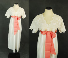 antique Victorian Nightgown - White Cotton Dress Night Gown - Crochet Yoke Cotton Tent Dress Sz XS S