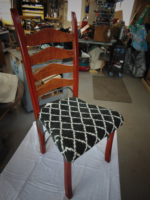 Padauk, Curly Makori and Wrought Iron dinner chair SOLD