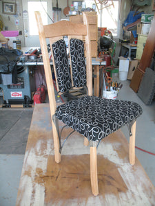 Maple and Wrought Iron dinner chair AVAILABLE BY CUSTOM ORDER