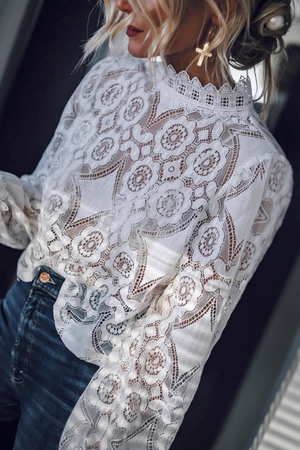 LACE BLOUSE WHITE - PerfectCatwalk.com
