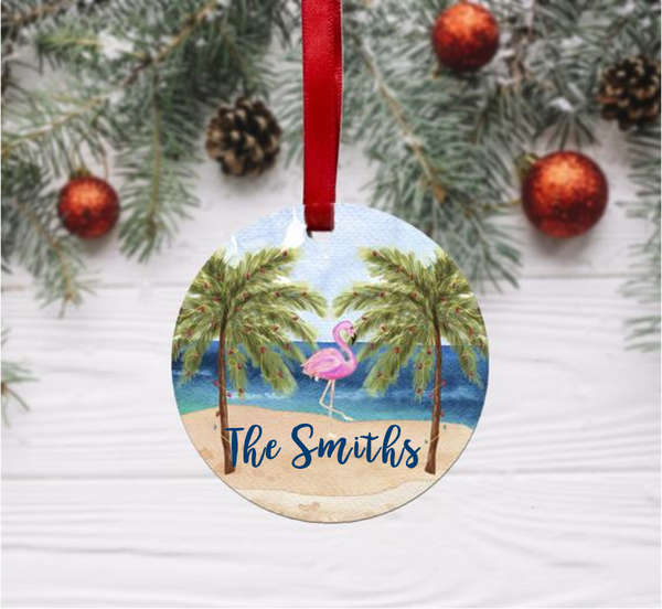 ITEM 1B Beachy Flamingo Ornament, Round
