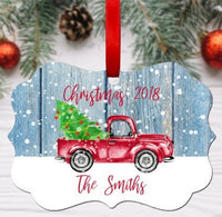 ITEM 9A Rustic Pickup Truck Ornament With Year, Benelux