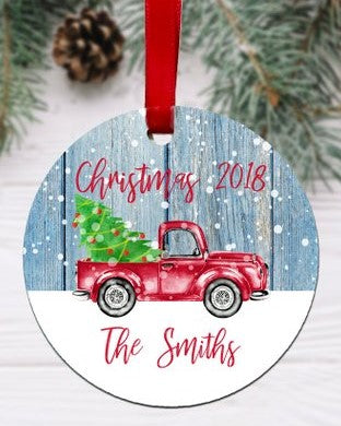 ITEM 9B Rustic Pickup Truck Ornament With Year, Round