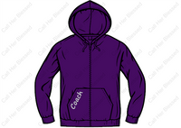 Style #12 Adult Unisex Zip-Up Hoodie (Purple Or Black)