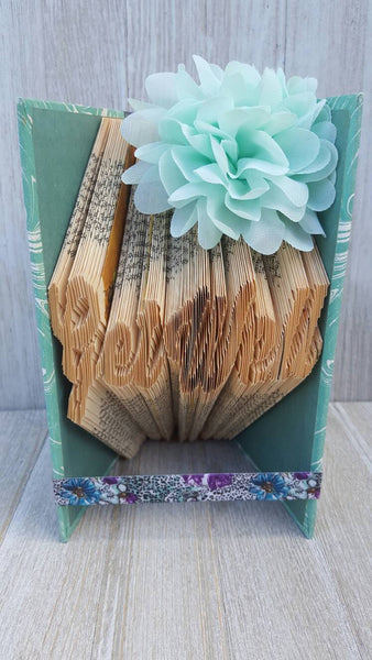 "Book Folding Book Art Sculpture ""Get Well"". Vintage Upcycled Book. Get Well Gift. Hospital Gift. Illness Gift. Cancer Gift. Teal Colors."