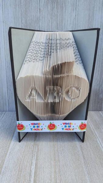 Teacher ABC Apple Book Folding Book Art Sculpture. Vintage Upcycled Book. Teacher Gift. Back To School. Christmas Gift For Teacher Book