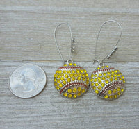 Rhinestone Pave Bling Softball Dangle Kidney Wire Silver Tone Earrings.  Bright Yellow Softball Earrings. Softball Mom Earrings.  Rhinestone