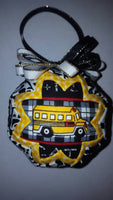 Yellow School Bus Quilted Fabric Christmas Tree Ornament Bulb. Bus Driver Gift.  Back To School Gift. Bus Aide Gift. Christmas Decoration