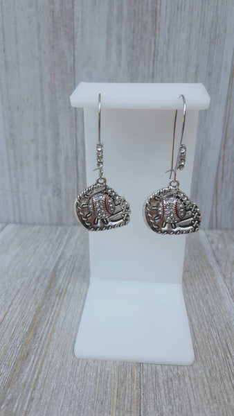 Rhinestone Pave Bling Baseball Glove Mitt Dangle Kidney Wire Silver Tone Earrings.  Clear Stone Baseballs w/Red Stripes.  Baseball Mom Gift