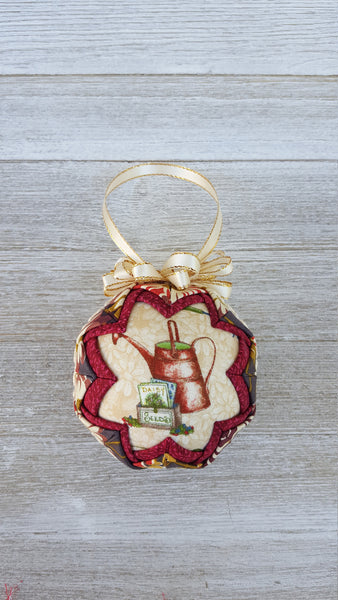 Rustic Watering Can & Seed Packet Quilted Fabric Christmas Tree Ornament Bulb. Gardening Gift. Watering Can Ornament. Farmhouse, Garden