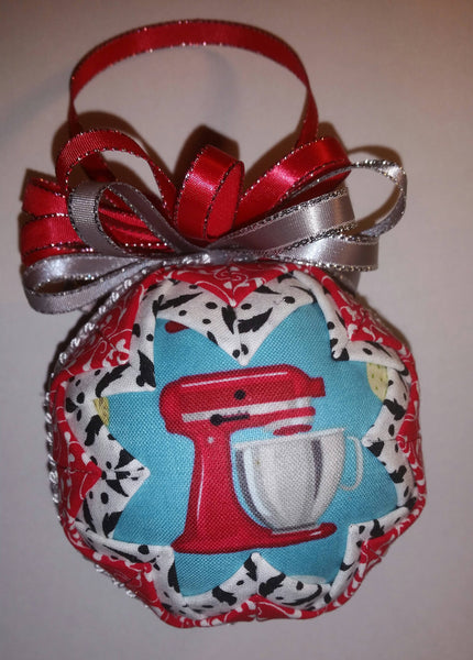 Red Kitchen Mixer Quilted Fabric Christmas Tree Ornament Bulb. Kitchen Ornament. Mixer Ornament. Baker Gift. Chef Gift. Kitchen Christmas