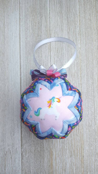 Rainbow Unicorn Quilted Fabric Christmas Ornament