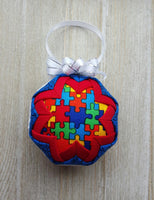 Autism Awareness Puzzle Pieces Quilted Fabric Christmas Ornament Bulb. Spectrum Disorder, Asperger Syndrome. Teacher Gift, Parent Gift