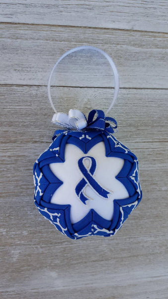 Blue Awareness Ribbon Quilted Fabric Christmas Ornament Bulb. Child Abuse, Foster Care, Colon Cancer, Colorectal Cancer, Chron's, IBS, Etc.