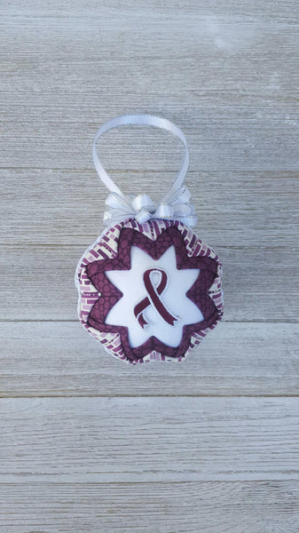 Plum Awareness Ribbon Quilted Fabric Christmas Ornament Bulb. Honoring Caregivers. Caregiver Support. Family Support. Caregiver Appreciation