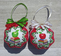 Teacher Apple & Books Quilted Fabric Ornament. Teacher Gift. Teacher Ornament. Back to School Gift. School Paraprofessional Gift. Aide Gift