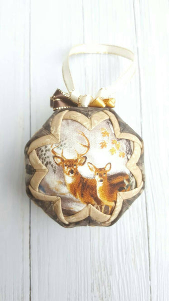 Whitetail Deer Quilted Fabric Christmas Tree Ornament Bulb. Buck & Doe, Deer Hunting, Deer Hunter Gift, Nature Lover Gift, Earth Tones, Camo