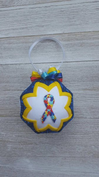 Autism Awareness Ribbon Puzzle Pieces Quilted Fabric Christmas Ornament Bulb. Spectrum Disorder, Asperger Syndrome. Teacher Gift, Parent