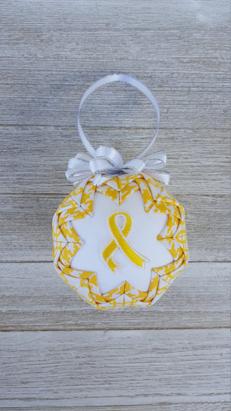 Yellow Gold Awareness Ribbon Quilted Fabric Christmas Ornament Bulb. Childhood Cancer Gift, Sarcoma, Bone Cancer, Survivor Gift, Parent
