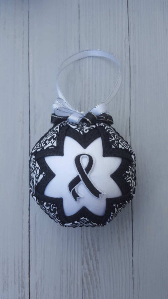 Black Awareness Ribbon Quilted Fabric Christmas Ornament Bulb. Melanoma, Skin Cancer, Suicide Prevention, Mourning, Narcolepsy, Sleep Apnea