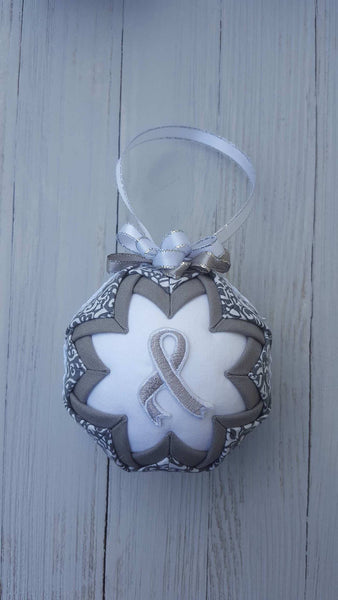 Silver Gray Awareness Ribbon Quilted Fabric Christmas Ornament Bulb. Brain Cancer, Asthma, Dyslexia, Elder Abuse Schizophrenia, Encephalitis