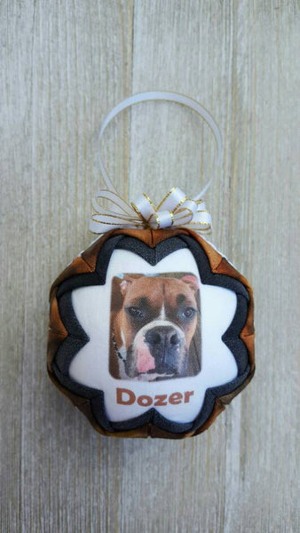 Custom Pet Photo Quilted Fabric Christmas Ornament. Photo Ornament. Pet Ornament. Pet Photo. Memorial Ornament. Pet Memorial. Pet Gift.