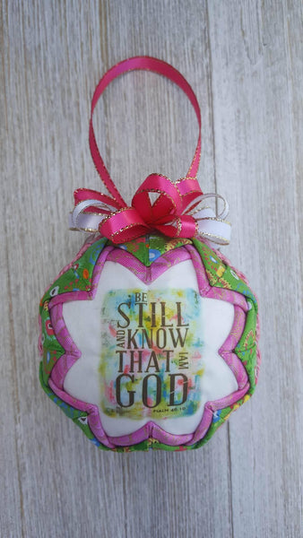 Psalm 46:10 Bible Verse Quilted Fabric Christmas Ornament. Be Still And Know That I Am God. Christian Ornament. Bible Ornament. Religious