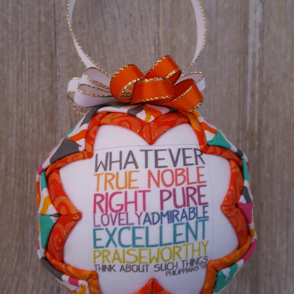 Phillipians 4:8 Bible Verse Quilted Fabric Christmas Ornament. Think About Such Things. Christian Ornament. Bible Ornament. Religious