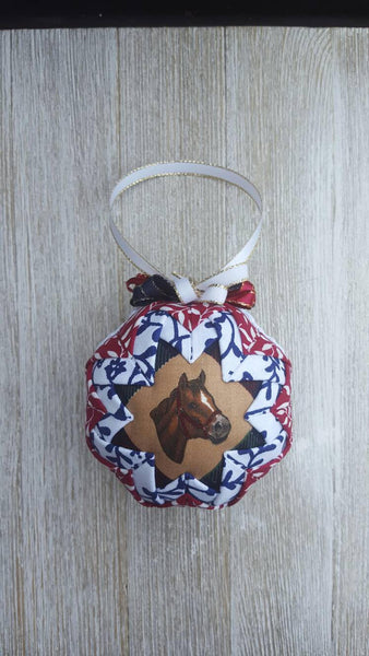 Horse Head Quilted Fabric Christmas Tree Ornament Bulb. Horse Ornament. Horse Gift. Horse Lover. Farm Ornament. Equestrian, Burgundy & Navy