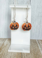 Rhinestone Pave Orange Jack-o-lantern Pump kin Dangle Kidney Wire Silver Tone Earrings. Rhinestone Pumpkin Earrings. Halloween Earrings.