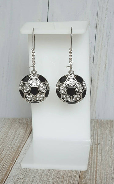 Rhinestone Pave Bling Soccer Ball Dangle Kidney Wire Silver Tone Earrings. Soccer Earrings. Soccer Mom Earrings. Soccer Fan Dangle Earrings