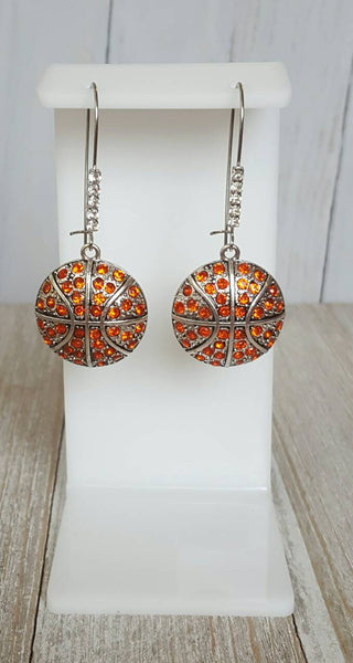 Rhinestone Pave Bling Basketball Dangle Kidney Wire Silver Tone Earrings. Basketball Earrings. Basketball Mom Earrings. Bling Basketball