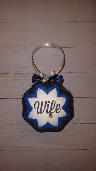 Thin Blue Line Wife Quilted Fabric Christmas Tree Ornament. Police Wife Ornament. LEO Wife. LEO Law Enforcement Officer Police Support