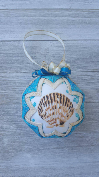 Scallop Seashell Quilted Fabric Christmas Tree Ornament. Seashell Ornament. Nautical Ornament. Sea Shell Ornament. Beach Nautical Florida