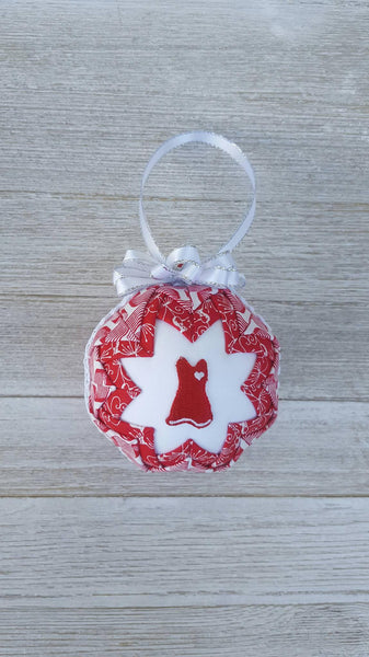 Red Dress Awareness Quilted Fabric Christmas Ornament Bulb. Heart Disease, AIDS, HIV, Hemophilia, High Blood Pressure, Blood Cancer, Etc.