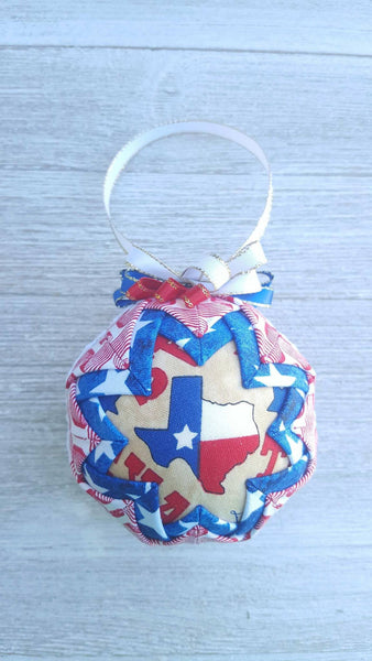 Texas Flag Quilted Fabric Christmas Ornament. Texas Ornament. Texas Flag Ornament. Lone Star State Flag Ornament. Texas Christmas Gift