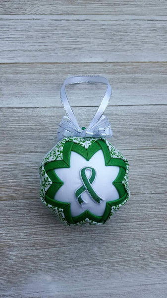 Kelly Green Awareness Ribbon Quilted Fabric Christmas Ornament Bulb. Bile Duct Cancer, Gallbladder Cancer, Bipolar, Dwarfism, Tourette's