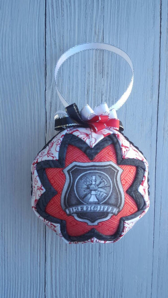 Firefighter Shield Badge Quilted Fabric Christmas Tree Ornament Bulb. Firefighter Support. Volunteer. Firefighter Gift. Husband Wife