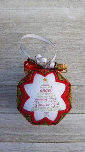 Luke 2 Bible Verse Quilted Fabric Christmas Ornament. Peace Goodwill Towards Men. Christian Ornament. Bible Ornament. Religious