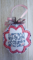 Psalm 103 Bible Verse Quilted Fabric Christmas Ornament. Bless The Lord O My Soul. Christian Ornament. Bible Ornament. Religious