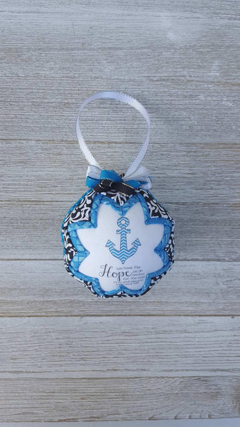 Hebrews 6:19 Bible Verse Quilted Fabric Christmas Ornament. Hope As An Anchor For The Soul. Christian Ornament. Bible Ornament. Religious